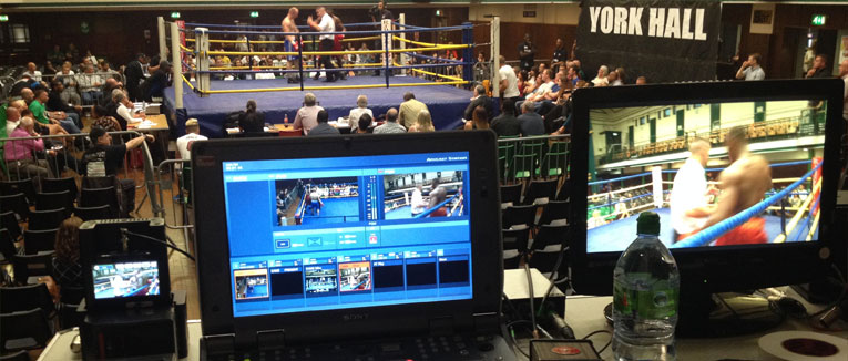 LiveU camera equipment filming Call of Duty boxing event in the York Hall, London