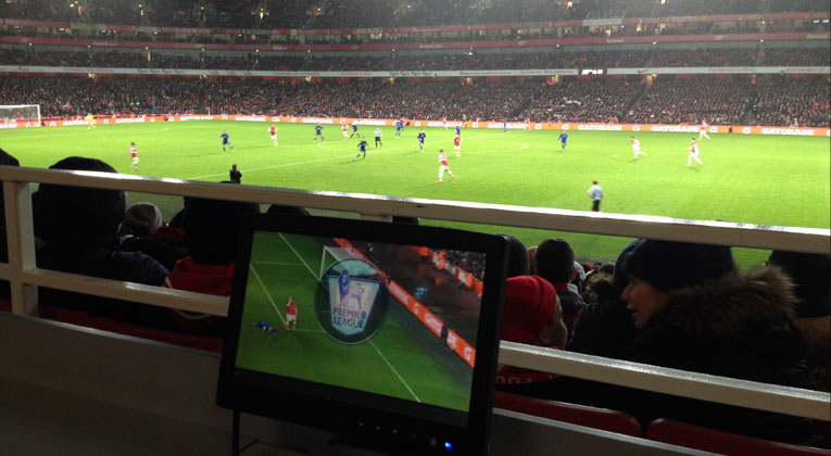 Arsenal pitch with TV production screen
