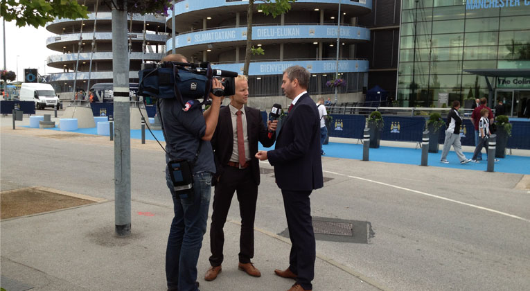 Outside Manchester City FC stadium interviewing